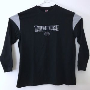 Harley Davidson Black Gray Long Sleeve Logo Shirt